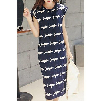 Casual Round Neck Cap Sleeves Baby Shark Print Dress For Women