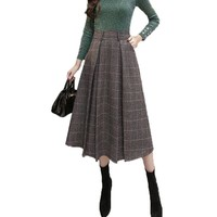 Vintage Woolen Plaid Skirts Women High Waist with Pockets Bottoms Pleated Skirt 2017 Autumn Winter A-line Femme Casual Skirts