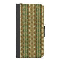 Green Beige Brown Abstract Vertical Stripes iPhone SE/5/5s Wallet