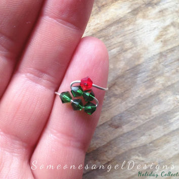 Christmas Ring, Christmas Midi Ring, Holiday Ring, Midi Ring, Christmas Tree, Rings, Silver Midi Ring, Knuckle Ring, Silver Knuckle Ring