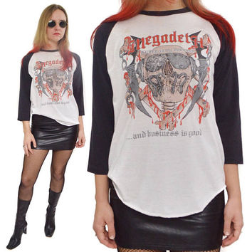 Vintage 80s Megadeth Killing is My Business Vic Rattlehead Rare Thrash Metal Raglan T Shirt Sz L