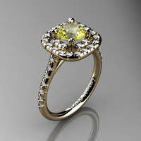 French 14K Yellow Gold 1.0 Ct Yellow Topaz Diamond Engagement Ring R1028-14KYGDYT