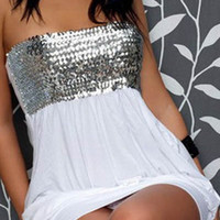 White Strapless Sequined Mini Dress