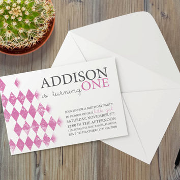 Instant Download - Argyle Pink Magenta Fuscia Diamond Vintage Pattern Shabby Cottage Chic Event Party Invitation Template