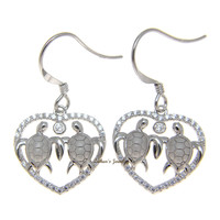 SOLID 925 SILVER HAWAIIAN COUPLE TURTLE CZ HEART RHODIUM WIRE HOOK EARRINGS