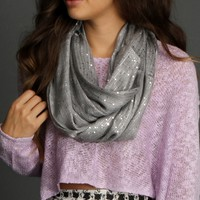 Sale-gray Sequin Infinity Scarf
