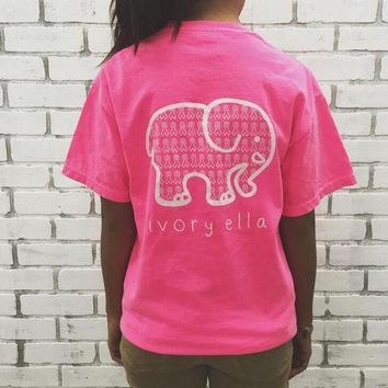 English alphabet Elephant Print T-Shirt