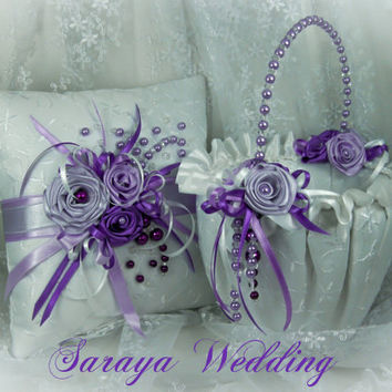 Flower Girl Basket and Ring Bearer Pillow Set in White Satin Embroidery, Purple Roses and Purple Pearls, Wedding Set, Ring Holder, Favors