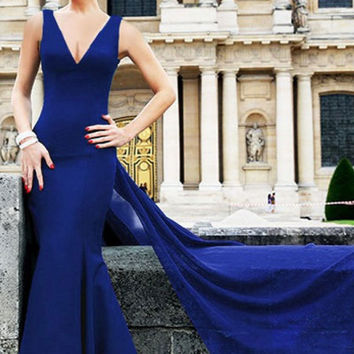 Mesh Splice Flattering Mermaid Evening Dress