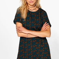 Daniella Teal Floral Shift Dress | Boohoo