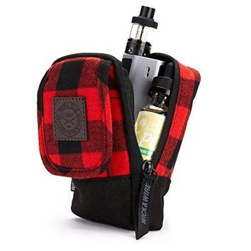 Wick and Wire - Stash Vape Case for Medium Size Mechanical and Box Mods - Premium Travel Vape Bag - EJuice Holder (Red Plaid)