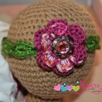 Crochet Flower Headband for Baby Girl, Newborn with jewel, gem, bling, Newborn Headband, Photo Prop, Hair Accessory, Baby Gift, Picture Prop