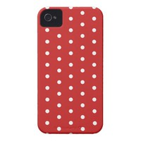 white_polka_dot_red_background pattern retro style iPhone 4 Case-Mate case