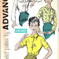 1950s Retro Vintage Fashion Advance Sewing Pattern Women's Blouse Shawl Collar Shirt Long Short Sleeve Top Button Front Bust 34