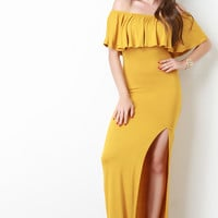 Flutter Bardot Side Slit Maxi Dress