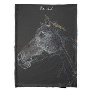 Abstract Psychedelic White And Black Horse Duvet Cover