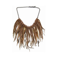 Statement jewelry fringe leather necklace in gold, bib necklace