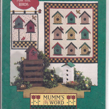 For The Birds birdhouse pattern 14 x 18 inch quilted wall hanging or 28 x 31 inch wall quilt by Debbie Mumm for Mumm's The Word UNCUT