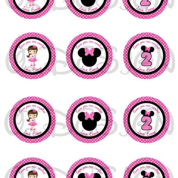 Minnie Mouse Stickers, Cupcake Topper, Tags, great for birthday partys. 2 Inch Circles. Digital file