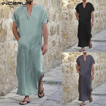 Men Shirts Short Sleeve V-neck Solid Longline Shirt Vintage Loose Cotton Tops Men Islamic Arab Kaftan