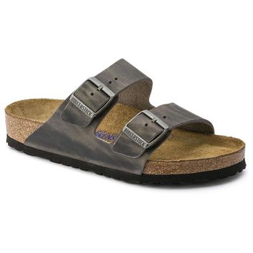 Women's Arizona Sandal in Oiled Iron Leather with Soft Footbed by Birkenstock