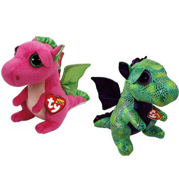 "Pyoopeo Ty Beanie Boos 6"" 15cm Dragon Set Cinder & Darla Plush Regular Soft Big-eyed Stuffed Animal Collection Doll Toy with Tag"