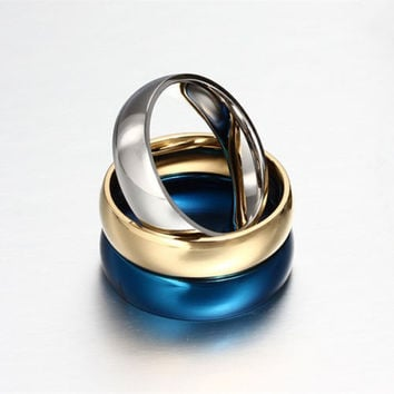 2016 Fashion Style 6MM Titanium steel 3 Colors Rings for Men Classic Men rings Statement Rings Wedding ringsFree shipping