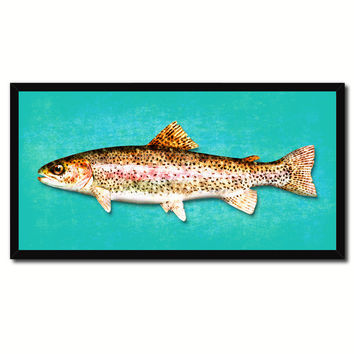 Rainbow Trout Fish Aqua Canvas Print Picture Frame Gifts Home Decor Nautical Wall Art