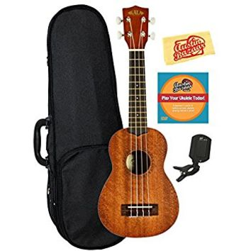 Kala KA-15S Mahogany Soprano Ukulele Bundle with Gearlux Case, Austin Bazaar Instructional DVD, Clip-On Tuner, and Polishing Cloth