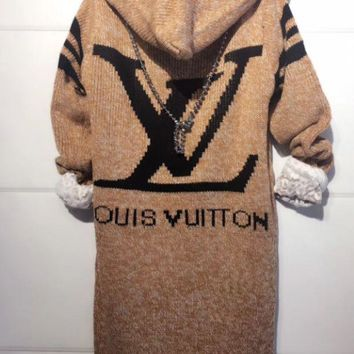 LV Louis Vuitton Trending Women Print Long Sleeve Hoodie Sweater Knit Cardigan Jacket Coat I