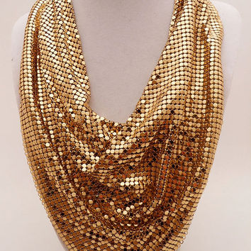 Whiting and Davis Mesh Bib Necklace With Tags