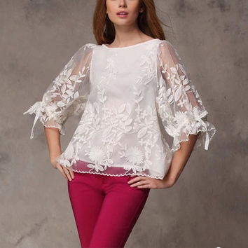 White shirt Chiffon Blouse tulle shirts embroidery shirt lace blouse women blouse fashion shirt blouse--TP042