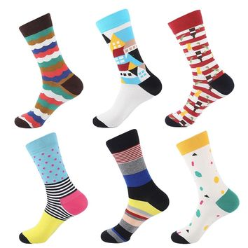 YEADU Happy Funny Sock Business Waves Printing  Men's Socks Combed Cotton Novelty Socks