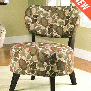 Oblong oval and boomerang print fabric upholstered round seat accent chair with espresso finish wood legs