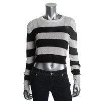 Rachel Zoe Womens Linen Striped Crop Sweater