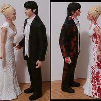 Custom Half Zombie Half Normal Wedding Cake Toppers Figure set - Personalized to Look Like Bride Groom from your Photos