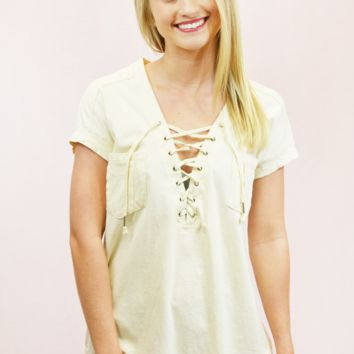 Lace Me Up Top with Pockets - Cream