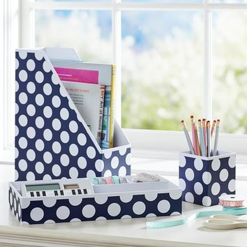 Printed Desk Accessories - Navy Dottie