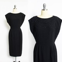 Vintage 1960s Dress - Black Rayon Beaded Wiggle Cocktail Party LESLIE FAY 60s  - Large