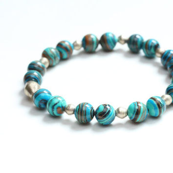 colorful turquoise teal stretch bracelet / ethiopian nickel / spring fashion / mothers day multicolor bead bracelet graduation teacher gift