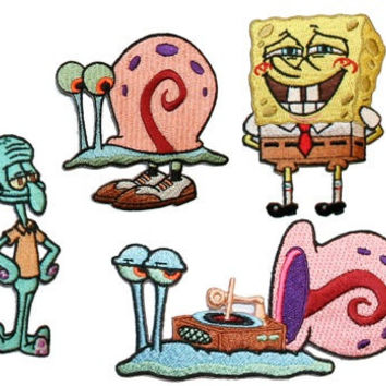 SpongeBob Squarepants Bob Gary Squidward Embroidered Iron On Applique Patches Lot of 4