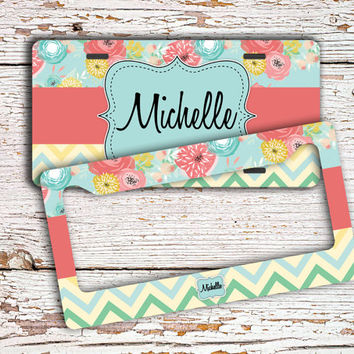 Monogrammed gift, Personalized license plate or frame, Custom bicycle accessory, Floral car tag, Chevron Bike license plate Pink blue (1386)