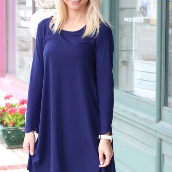 Long Sleeve Suedette Scalloped Dress {Navy}