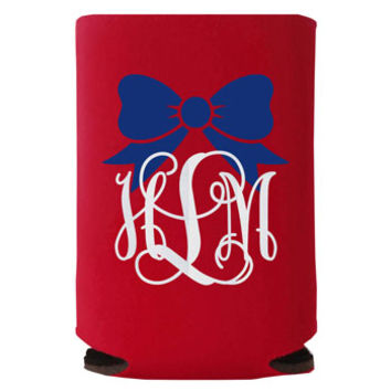Independence Day Bow Monogram Koozie