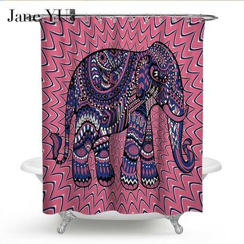 JaneYU 14Colors Custom Colorful elephant print Fabric Modern Shower Curtain eco-friendly Waterproof shower bathroom curtain