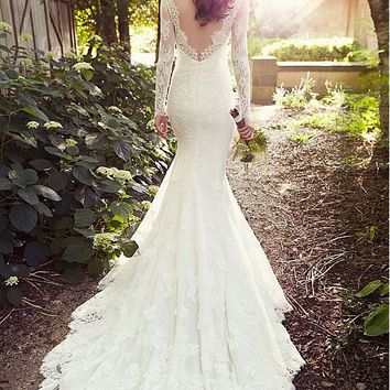 [219.99] Elegant Tulle Square Neckline Natural Waistline Mermaid Wedding Dress With Lace Appliques - dressilyme.com
