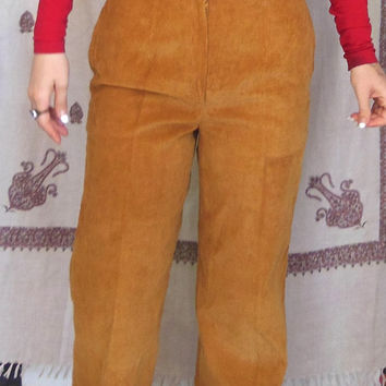 vintage gold high-waisted corduroy pants slacks / mom jeans / 90s / 80s / 70s / hipster /  bootcut / tortoise shell buttons / boho / gypsy