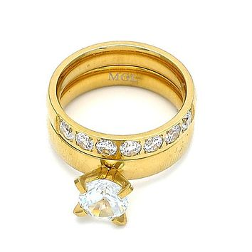 Stainless Steel Wedding Ring, Duo Design, with Cubic Zirconia and Crystal, Gold Tone