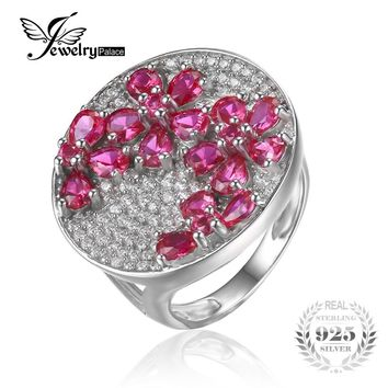 JewelryPalace Huge Luxury 3.3ct  Red Created Ruby Cocktail Ring Genuine 925 Sterling Silver Fashion Fine Jewelry For Women
