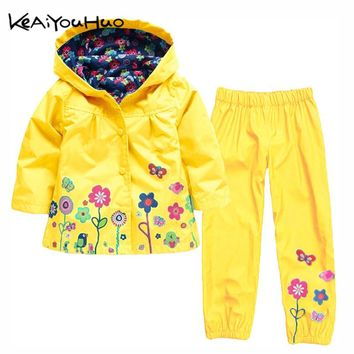 KEAIYOUHUO Autumn Winter Kids Clothes Windbreak Waterproof Boys Sets Raincoat Jackets+Pant Girls Sport Suit Children Clothing